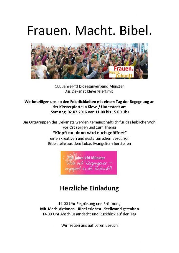 Einladung Dekanat Kleve - Frauen Macht Bibel - Aktionstag am 02.07.2016